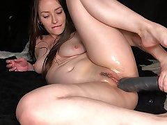 AdalynnX - Huge Dildo Deep Belly Bulge 1