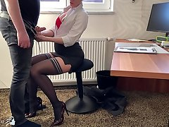 female boss uses say no to trainee for dick riding, Business Bitch