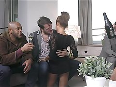 Brittany Bardot & Rose Valerie Tag team to empty 3 men balls. They get DPed plus swap cum