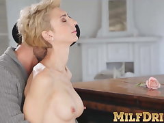 Full-grown blonde lady Natalie Anna sucks learn of and fucked hard