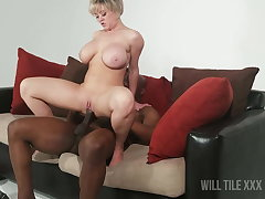 Stacked short hair MILF gets fucked apart from BBC on couch