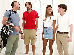 Elfin Ebony Chanel Skye Does Anal Sexual congress With Fat Blanched Dicks
