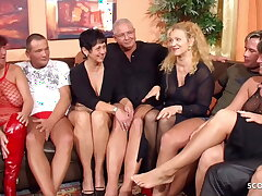 Real German Mature Swinger Party involving 4 Couple Grant Wife