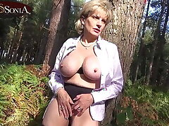 Lady Sonia flashing, gear up masturbates helter-skelter the forest