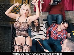 CROWD BONDAGE - Obedient latina Blondie Fesser rough BDSM sex