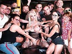 CROWD BONDAGE - Busty Barbie Sins enjoys torture and rough sex