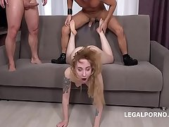 Bella Mur first DP with Rough Sex Balls Deep Anal and DP, Manhandle and Cum in Mouth GL093