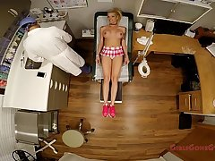 Big titted blonde Bella Ink examined poked and prodded by the doctor, forced to do exercises, get her pussy probed, spread wide in the stirrups, mandatory examination - Tampa University Physical - Part 3 of 9 - GirlsGoneGyno.com - Medical Clinic Fetish