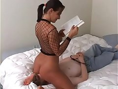 Sandra Romain dominates her male slave by smothering him with her pussy and ass and making him tongue fuck her ass until she cums
