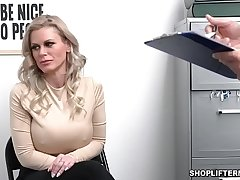 Busty shoplifter MILF Casca Akashova caught stealing necklace by an officer. She was offered for sex to get her freedom and fucked inside the office.
