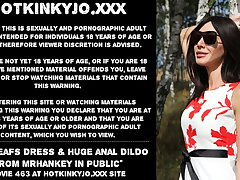 Hotkinkyjo red leafs dress & burly anal dildo all round public